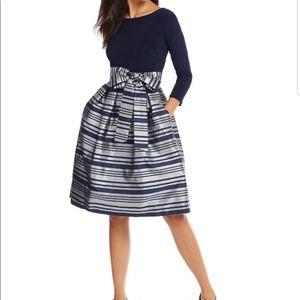 Jessica Howard Metallic Striped Navy Silver Dress